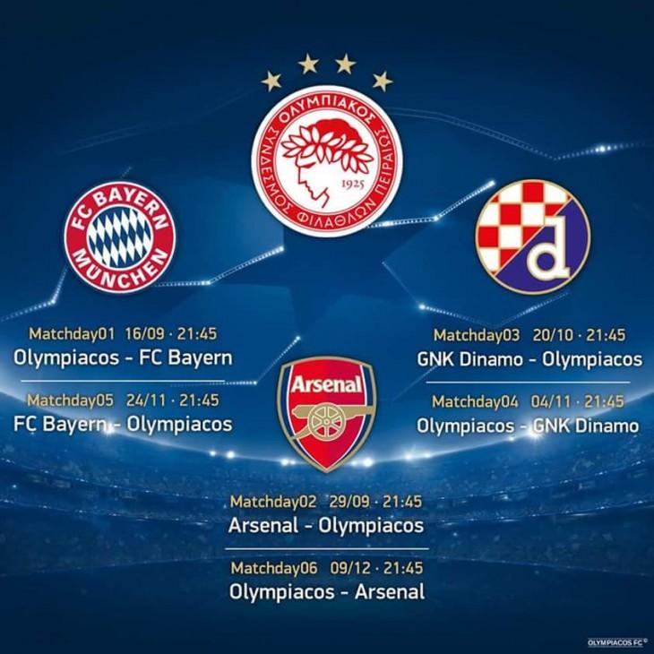 Το πρόγραμμα των αγώνων του Θρύλου στο Champions League